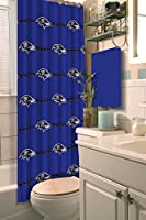 "Features repeating design of NFL team's name and logo on color-coordinated background Soft material shower curtain; pair with team shower curtain rings Measures 72""W x 72""L Machine wash cold separately using delicate cycle and mild detergent. Do not ..."