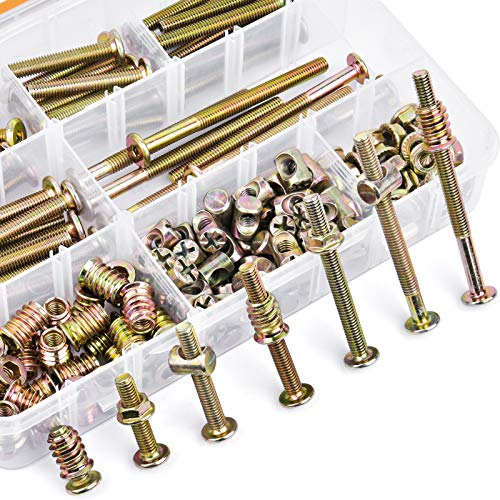 VIGRUE 180PCS M6 x 20/30/40/50/60/70/80mm Bolts Nuts Kit Furniture Bolt Crib Screws Kit Hex Socket Head Cap Screws Nuts Barrel Bolt Nuts for Crib Bunk Bed Cot