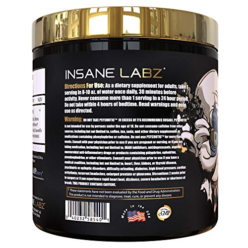 Insane Labz Psychotic Gold, High Stimulant Pre Workout Powder, Extreme Lasting Energy, Focus, Pumps and Endurance with Beta Alanine, DMAE Bitartrate, Citrulline, NO Booster, 35 Srvgs, Gummy Candy 7