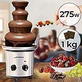 Fontaine à Chocolat - 275 W, 4 Étages, Capacité 1 kg, Électrique, H 39 cm, en Acier Inoxydable, Lavable dans le Lave-Vaisselles, Argenté - Fondue au Chocolat, Fruits