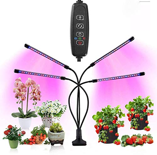 植物育成ライト多肉ライト 水耕栽培 ledライト 40W 80LED 4ヘッド付き タイミング定時機能(3H / 9H / 12H...