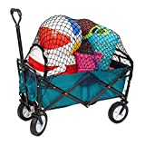 MacSports Classic Collapsible Folding Outdoor Utility Wagon   Heavy Duty Cart w/Wheels for Groceries, Sports Equipment, Gardening, Camping, Tailgating   Two Tone Teal/Navy   32.5' L x 17.5' W Basket