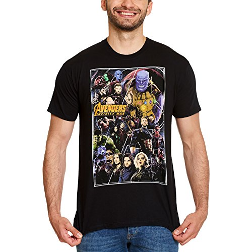 Marvel T-Shirt da Uomo di Avengers Infinity War Poster Collage Cotton Black - XL