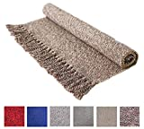 Cotton Reversible Laundry Room Rag Rug - Hand Woven Solid Color Chindi Area Rug Entryway for Kitchen Bathroom Bedroom Dorm (2' x 4.3', Coffee)