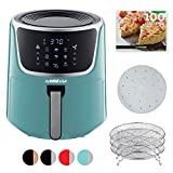 GoWISE 7-Quart Electric Air Fryer with Dehydrating Function and 3 Stackable Racks + 1-Pack of Parchment Paper, LED Digital Touchscreen with 8 Functions + 100 Recipes (Mint/Silver)
