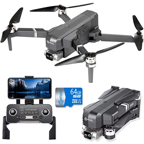 Contixo F35 GPS Drone with 4K UHD Camera 2-Axis Self stabilizing Gimbal 5G WiFi FPV RC Quadcopter Brushless Drone for Adults, Bonus 64GB SD Card Carrying Case