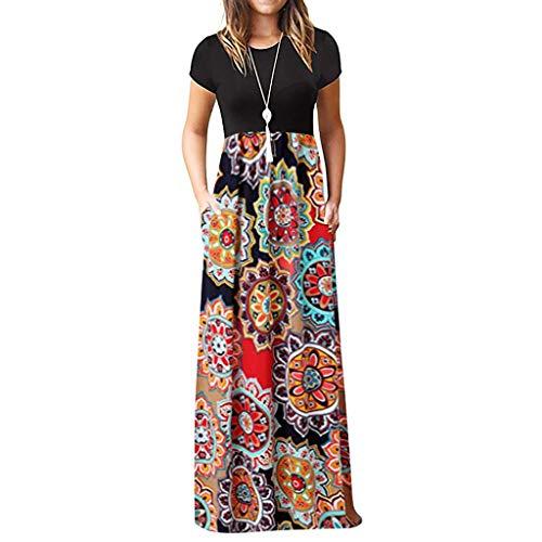 Vestidos de Verano Mujer 2019, Moda Vestido Casuales Mujer Tallas Grandes Vestido de Playa Top Negro Falda Estampado Floral de Vestido Manga Corta Vestido Largo Maxi MINXINWY
