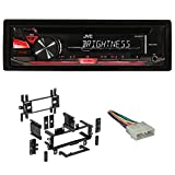 Package: JVC KD-R370 In-Dash Car Stereo CD/MP3 Player Receiver w/Dual Aux Inputs + Metra 99-5700 Jeep In-Dash Radio Mounting Mulit-Kit + Metra 70-1002 Jeep Into Car Wire Harness