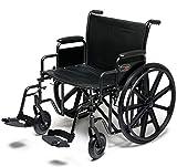 Everest & Jennings Traveler HD Wheelchair, Detachable Desk Arms & Swingaway Footrests, 24' Seat, Silvervein Color