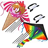 AGREATLIFE 2 Pack Large Rainbow Kite and Ice Cream Kite for Kids with 50 LB x 328 Feet - Twisted Kite Line - Easy to Fly Huge Kites