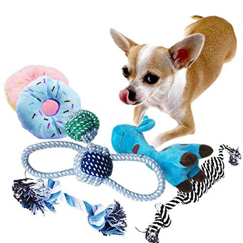 BUIBIIU Dog Toys Small Dog Chew Toys Dog Teething Toys Squeaky Toys Chihuahua Pomeranian Corgi and PoodlesToys 6 PCS
