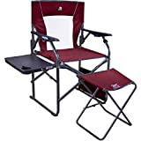 GCI Outdoor 3-Position Reclining Director's Chair, Side Table, and Ottoman
