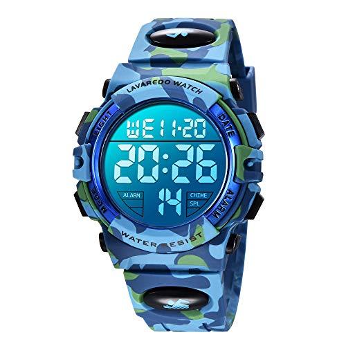 Orologio per bambini, orologio per ragazzi da 6 a 15 anni, cronografo multifunzione sportivo da esterno sportivo LED 50 M calendario allarmi impermeabile analogico con cinturino in silicone blu