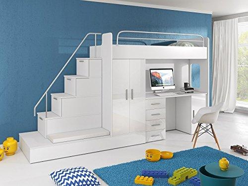 Möebel für Dich Hochbett TOMI - Schreibtisch, Schrank, Treppe und Gästebett mit Hochglanz-Fronten in weiß/schwarz/rosa/grau/lila/blau (Weiss)