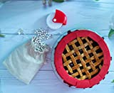 1 Bag Ceramic Pie Weights (2.2 Lbs) for Blind Baking, 1 Pastry Wheel Cutter Lattice Decorator, 1 Adjustable Silicone Pie Crust Shield Cover - Fit 8' to 11' Pie Baking Dishes