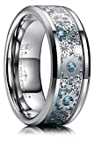 THREE KEYS JEWELRY 8mm Tungsten Rings Silver Punk Seal Gear Mechanical Light Blue Carbon Fiber with...