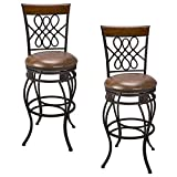 Kira Home Monarch I 30' Swivel Bar Stool, Brown Leatherette Seat Cushion, Scroll Backrest with Real Wood Accent, Old Steel Finish, Set of 2