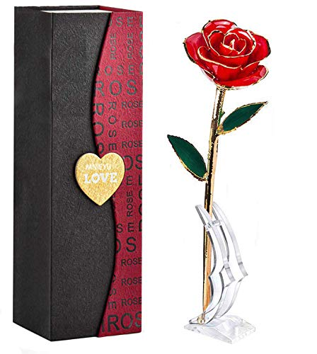 MNIEYU Gold Rose 24k Red Gold Plated Rose Forever Preserved Dipped Rose, Eternal Long Stem Real Rose with Exquisite Holder, Unique Romantic Gift for Valentine's Day,Anniversary,Birthday, Mother's Day