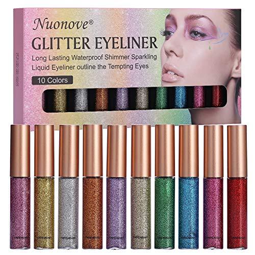 Delineador De Ojos Brillo, Glitter Eyeliner, Liquid Glitter Eyeliner, Delineador de ojos...