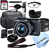 Canon EOS M100 Mirrorless Digital Camera with 15-45mm Lens + 32GB Card, Tripod, Case, and More (ALS...