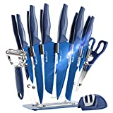 Wanbasion 16 Pieces Kitchen Knife Set Dishwasher Safe, Professional Chef Kitchen Knife Set, Kitchen Knife Set Stainless Steel with Knife Sharpener Peeler Scissors Acrylic Block
