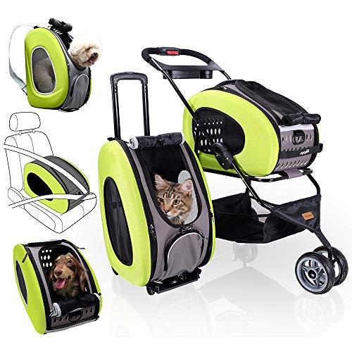 5-in-1 Pet Carrier with Backpack, Car Seat, Pet Carrier Stroller, Shoulder Strap, Carriers with Wheels for Dogs and Cats - Green