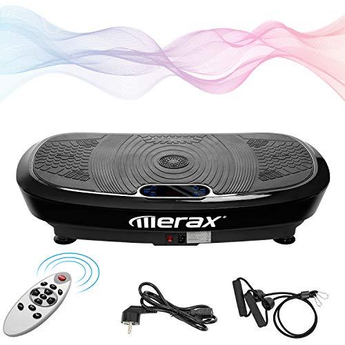 Merax Profi Vibrationsplatte Ganzkörper Trainingsgerät, 5 Trainingsprogramme + 180 Stufen,mit 2x200W Motoren, Bluetooth Musik + Riesige Fläche + Trainingsbä,nder + Fernbedienung