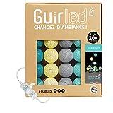 Guirlande lumineuse boules coton LED USB - Veilleuse bébé 2h - Adaptateur secteur double USB 2A inclus - 3 intensités - 16 boules 3.2m - Scandinave