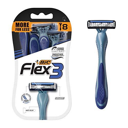 Flex 3 Titanium Men's Disposable Razor, Triple Blade, 8...