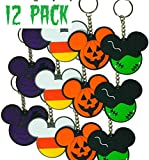 12 pc Halloween Keychain Trick or Treat Candy Corn Spider Web Frankenstein Pumpkin Mickey Party Favors Goodie Bags Gifts Toy Party Supplies Pinata Filler (2 Halloween Keychain, one Size)