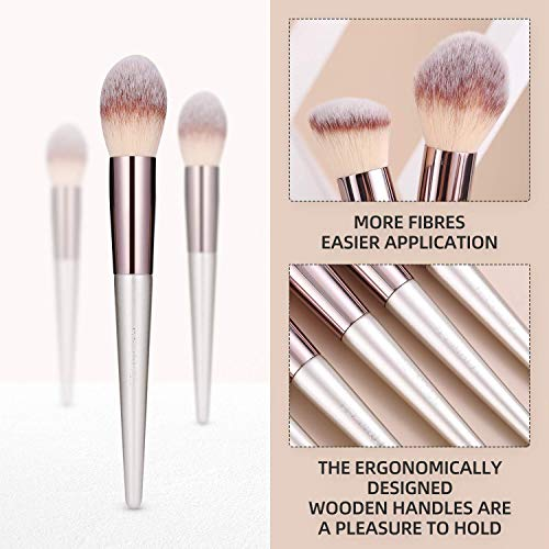 Product Image 7: BS-MALL Makeup Brush Set 18 Pcs Premium Synthetic Foundation Powder Concealers Eye shadows Blush Makeup Brushes Champagne Gold Cosmetic Brushes with Black Case