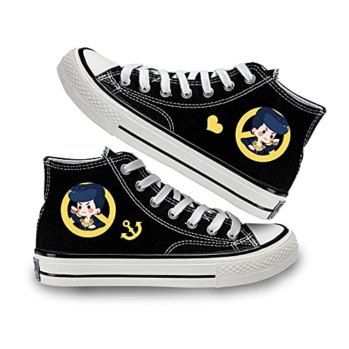 NXMRN JoJo's Bizarre Adventure Zapatos De Retales con Estampado De Dibujos Animados De Anime, Zapatillas De Lona con Tacón Fuerte, Alpargatas Planas-36