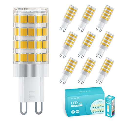 Lampadina LED G9 5W, TASMOR Lampadine G9 Led Luce Calda Equivalenti a 50W, 51 LEDs SMD2835, 550 LM, 3000K Bianco Caldo, Angolo di Fascio 360, Nessun Lampeggio Non Dimmerabile Confezione da 10 Pezzi