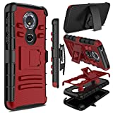 Moto G6 Play Case, Zenic Heavy Duty Shockproof Full-Body Protective Hybrid Case Cover with Swivel Belt Clip and Kickstand for Motorola Moto G6 Play (Red)