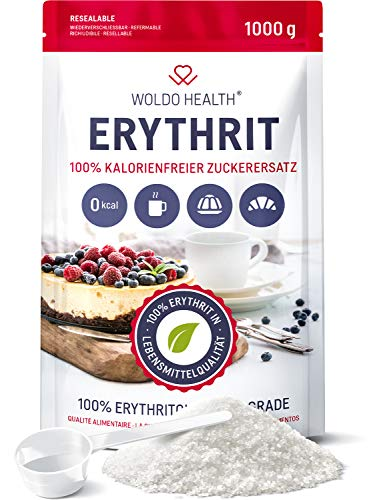 Erythrit 1kg Zuckerersatz ohne Kalorien vegan & glutenfrei mit 70% der Süßkraft von Zucker