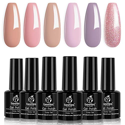 Beetles Gel Nail Polish Set, Blushed Pink Collection Pink Purple Glitter Nude Gel Polish Nail Lacquer Kit Nail Art Manicure at Home Gift Kit, 7.3ml Each Bottle