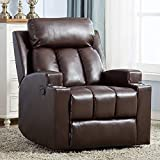 ANJ Breathable PU Leather Recliner Chair with 2 Cup Holders Contemporary Theater Seating Padded Single Sofa for Living Room (Chocolate)