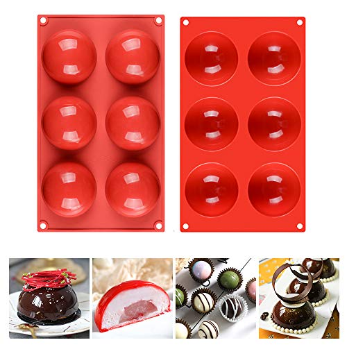 6 Holes Half Sphere Silicone Mold For Chocolate, Cake, Jelly, Pudding, Round Shape, Dia: 3 inches
