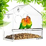 Window Bird Feeder, Bird House with Extra Strong Suction Cups, Removable Seed Tray with Drainage...