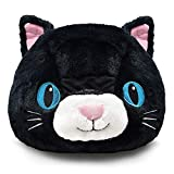 Plush Animal Head Mask Costume | Fun Furry Mascot Head with Mouth Opening (Black Cat)