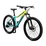 Mongoose Tyax Expert Adult Mountain Bike, 27.5-Inch Wheels, Tectonic T2 Aluminum Frame, Rigid Hardtail, Hydraulic Disc Brakes, Womens Medium Frame, Yellow/Teal
