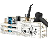 Wood Hair Tool Organizer Wall Mounted, Rustic Hair Dryer Holder, Hair Styling Care Tool Bathroom Supplies Countertop, Vanity Caddy Storage Stand for Blow Dryer Straightener Curling Iron Rustic White