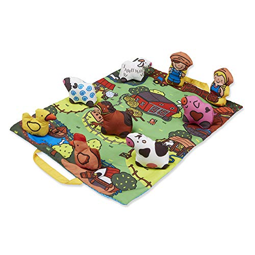 Melissa & Doug Take-Along Farm Baby and Toddler Play Mat (19.25 x 14.5 ) With 9 Animals - Folds To Be Storage Bag