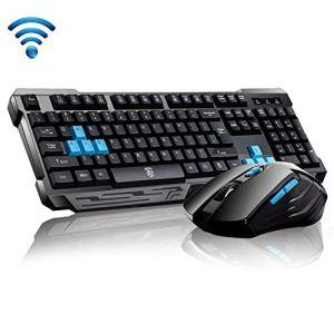 Keyboard Mouse Combos,Soke-Six Waterproof Multimedia 2.4GHz Wireless Gaming Keyboard with USB Cordless Ergonomic Mouse DPI Control For Desktop PC Laptop(Black)