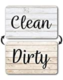 Rustic Wood Clean Dirty Dishwasher Magnet, Reversible Dish Washer Sign, Double Sided Strong Kitchen Flip Indicator, Bonus Universal Magnetic Plate, White Light Brown Black Neutral Farmhouse Design