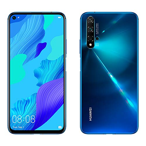 "Huawei Nova 5T - Smartphone de 6.26"" (6 GB de RAM, 128 GB de Memoria Interna, 5 cámaras IA, FullView Display, Sensor de Huella Lateral, 3750 mAh) Dual-SIM, Color Azul"