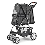 Flexzion Pet Stroller (Black) Dog Cat Small Animals Carrier Cage 4 Wheels Folding Flexible Easy to Carry for Jogger Jogging Walking Travel Up to 30 Pounds with Sun Shade Cup Holder Mesh Window