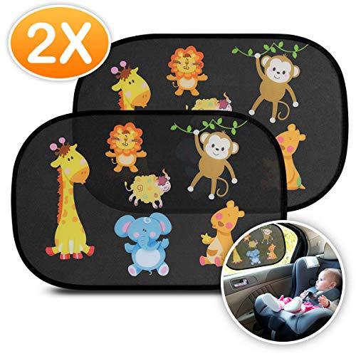AODOOR Sonnenschutz Auto Baby, Sonnenblende Auto Baby Kinder Seitenscheibe Universelle Auto Sonnenschutz, Selbsthaftende Sonnenblenden für Kinder mit süßen Tiermotiven (2 Stück)