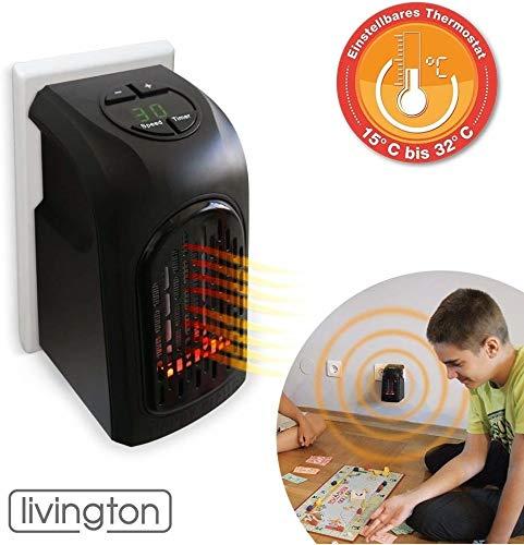 Livington Handy Heater | Mini-Steckdosen-Heizlüfter | Steckdosen-Keramik-Heizlüfter mit Thermostat | Elektro-Heizung | 2-Stufen- Heizprogramm | 12h Timer | Das Original aus dem TV (370 Watt)