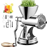 VEVOR Manual Wheatgrass Juicer with Suction Cup Base & Desktop Clamp Wheat Grass Grinder Long Screw Shaft Wheatgrass Juicer Stainless Steel for Juicing Wheatgrass Gingers Apples Grapes